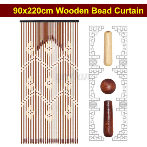 31 Lines Beaded Bamboo Wooden Door Curtain Fly Insect Blinds Screen 90 x 220cm