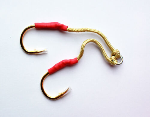 Gold Size 6//0 Custom Offshore Tackle Double Assist Hooks 12 PAIRS