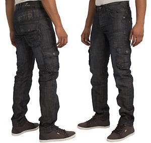 ETO-Mens-Cargo-Jeans-Pants-Casual-Funky-Denim-Trousers-in-Dark-Wash-30-38