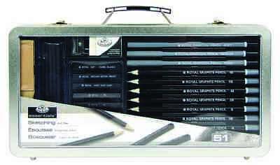 Large Window SKETCHING SET 51 pieces Graphite Charcoal Pencils Essentials Royal