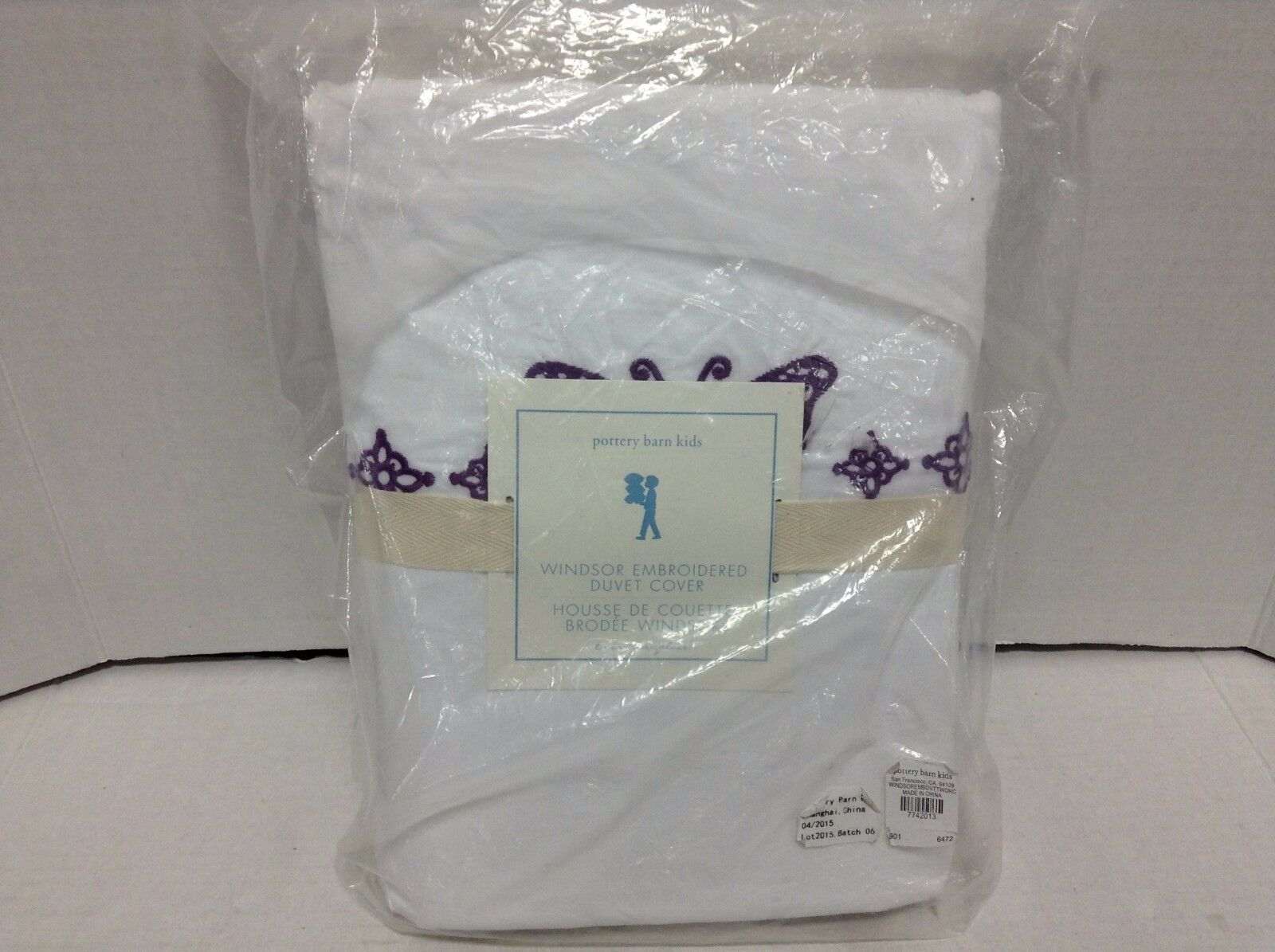 Pottery Barn Kids Windsor Embroidered Butterfly Twin Duvet Bed Cover Purple