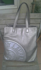 YSL Yves Saint Laurent Large silver metallic logo leather tote Tasche - Limited!