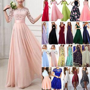 Damen Spitze Abendkleid Ballkleid Party Hochzeit Brautjungfern Kleider Maxikleid Ebay
