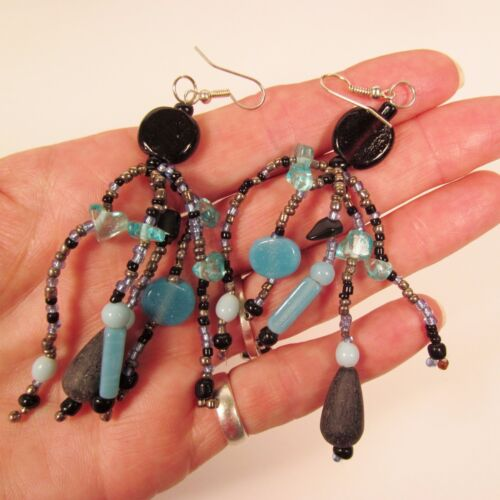 "3/"" Blue Multi Color Mixed Bead Bohemian Style Handmade Dangle Seed Bead Earring"