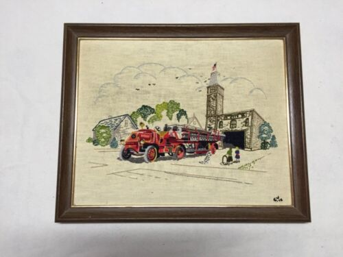 Vintage 1972 Handmade Embroidered Fire Station Scene With Wood Frame