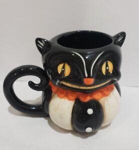Halloween Vintage Style Black Cat Coffee Mug Cup Ebay
