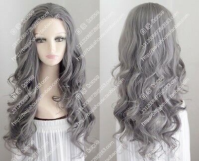new 60-65 cm  dark  gray   long   Curly cosplay  Heat-resistant wig +wig cap