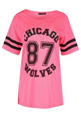 Women Ladies Chicago Full Net Airtex Mesh Lace Varsity Baseball Oversize T Shirt