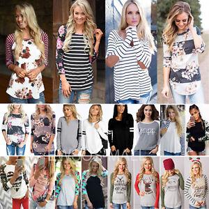 donna-maniche-lunghe-T-Shirt-Girocollo-Casual-Larga-Maglia-maglione-felpa