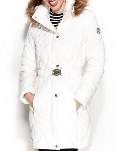 Guess Coat Hooded Fur Trim Quilted Puffer Belted Jacket
