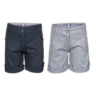 Trespass-Ronya-Girls-Kids-Summer-Cotton-Shorts-in-Navy-amp-Grey