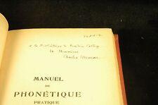 Signed Manuel de Phonétique pratique (Deuxième édition revue et complétée) - Bru