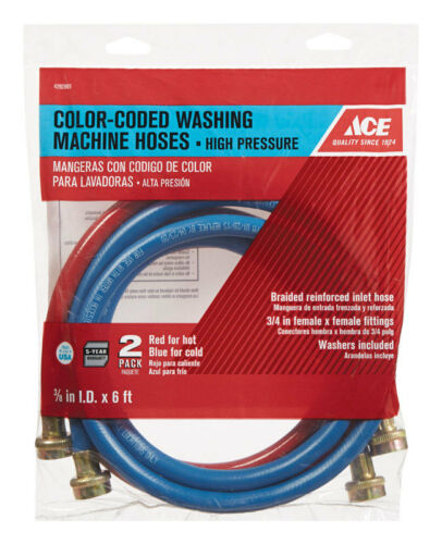 Ace  3//8 in Dia x 3//4 in Dia x 6 ft L Washing Machine Hose  Reinforced Coil