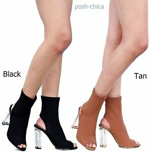 9e8d6aef0f9 New Women FCer Peep Toe Lucite Clear Chunky Heel Booties Ankle Boots ...