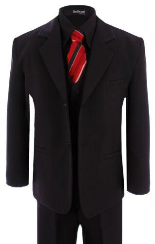 G190 Black Shirt//Red Tie Boy Formal Tuxedo Tux Suit Set Sizes Baby to Teens