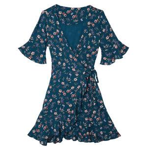 Wickelkleid Damen Kleid Frauen Sommerkleid Urlaub YEHWANG Rüschen Blumen Grün