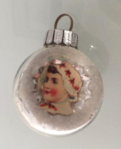 Alter Weihnachtsschmuck kleine Reflexkugel 4cm mit Oblate Federbaum 2885//19