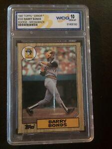 Details About 1987 Topps Error Barry Bonds Spike Owen Rookie Card Gem Mt 10