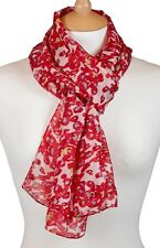 Quintessential 100% Pure Silk Luxury Scarf Printed In Picasso Red (33x170cm)