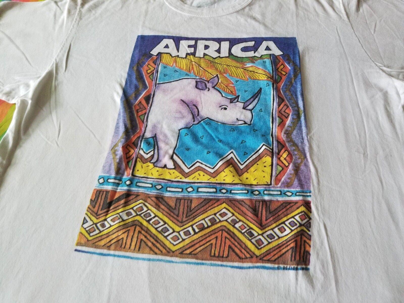 AFRICA RHINOCEROS VINTAGE TEE SHIRT XL COOL CLEAN WILDLIFE
