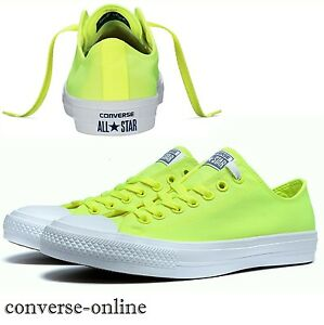 Men's CONVERSE All Star CHUCK 11 Neon OX Volt Green Lo Scarpe Da Ginnastica Tg UK 12