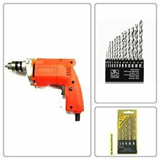 Powerful 10Mm Drill Machine +13Pcs Hss Drill Set For Wood,Metal,Plastic&5Pcswal