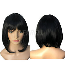 Parrucca Extension Capelli Sintetici Nero Medi BOB Donna Cosplay Carnevale Party
