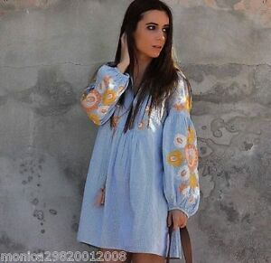 ZARA-NEW-SS17-SKY-BLUE-FLORAL-EMBROIDERED-SHORT-DRESS-SIZE-M-L-REF-6895-069