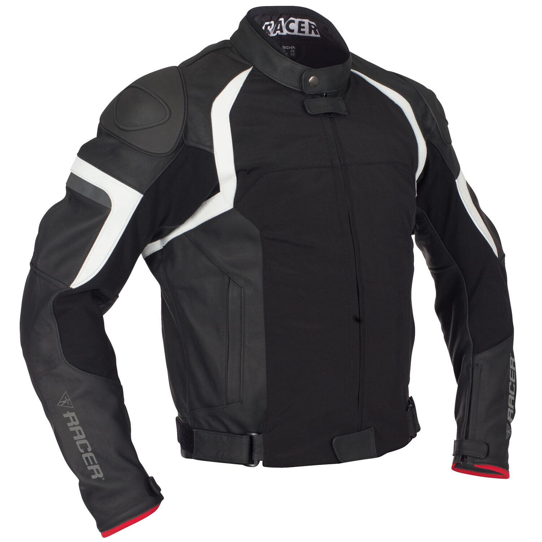 RACER JEREZ Chaqueta de MOToro para mujer cuero deportivo Textil - Negro blancooo