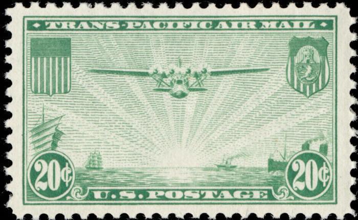 1937 20c Transpacific - China Clipper, Green Scott C21