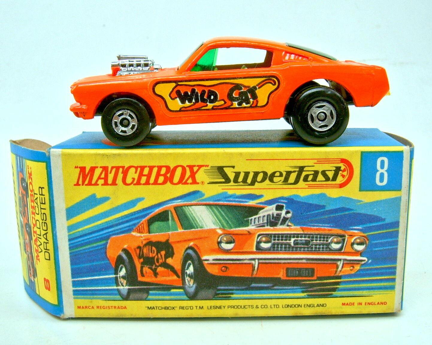 MATCHBOX SF N. 8b Wildcat DRAGSTER naranja piastra di base Coloree gris TOP CON BOX
