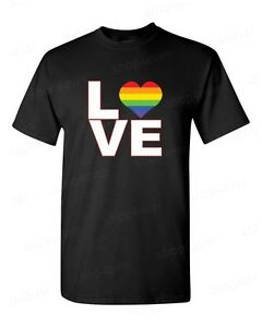 Love Neon Rainbow Heart T-Shirt Gay Pride Equal Rights LGBTQ Love Wins Tees
