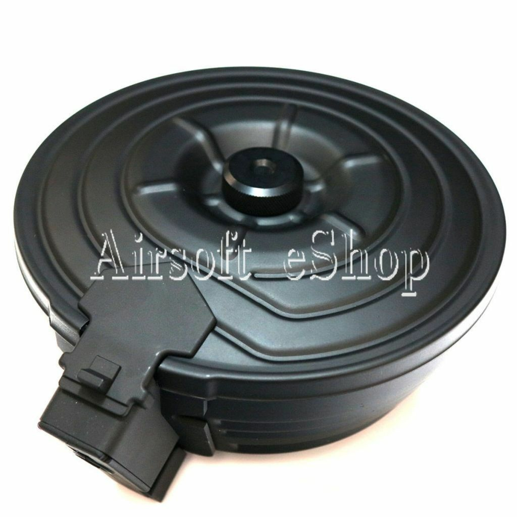 Airsoft CYMA 2500rd Sheet Steel Electric Drum Magazine for AK-Series AEG negro
