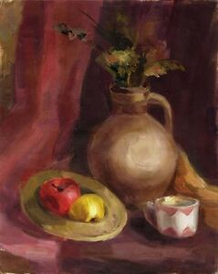 Russischer-Realist-Expressionist-Ol-Leinwand-034-Krug-und-Apfel-034-50-x-40-cm