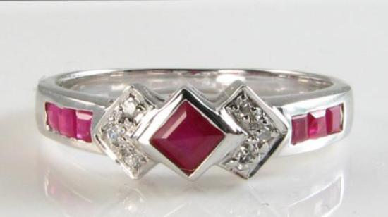 CRISP 9K 9CT WHITE gold INDIAN RUBY DIAMOND ART DECO INS ETERNITY RING FREE Sz