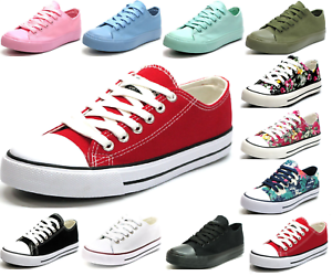 New Women Girls Comfort Floral Breathable Sneakers Lace Up Flat Canvas Mesh Shoe