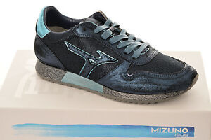 Men-Sneakers-Mizuno-Etamin-2-D1GE1810-Shoes-Leather-Cotton-Rubber-Black-Blue-New