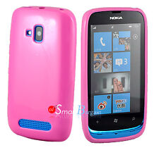 New PINK Soft Gel TPU Cover Case For NOKIA Lumia 610 + Screen Protector