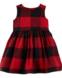 240c6315de8c New Carter's Girls Holiday Dress Buffalo Red Black Plaid Christmas ...