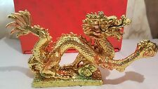 Two Gold coloured Resin Chinese Dragon Ornaments New