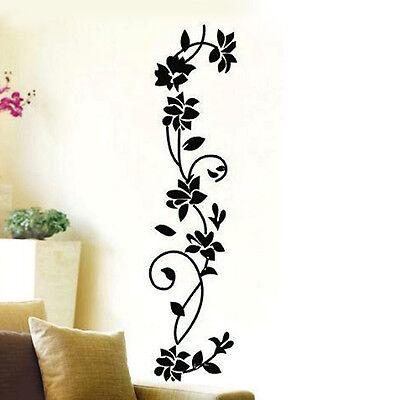 Vinyl Black Flowers Vine Wall Sticker Mural Decal Home Living Room Decor DIY