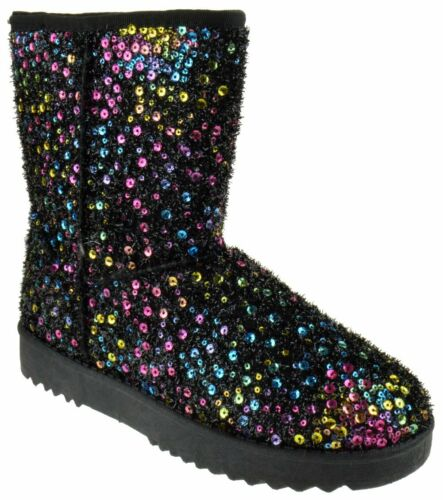 Details about  /Annie 41 Women/'s Sequined Mid Calf Shearling Slip On  Boots