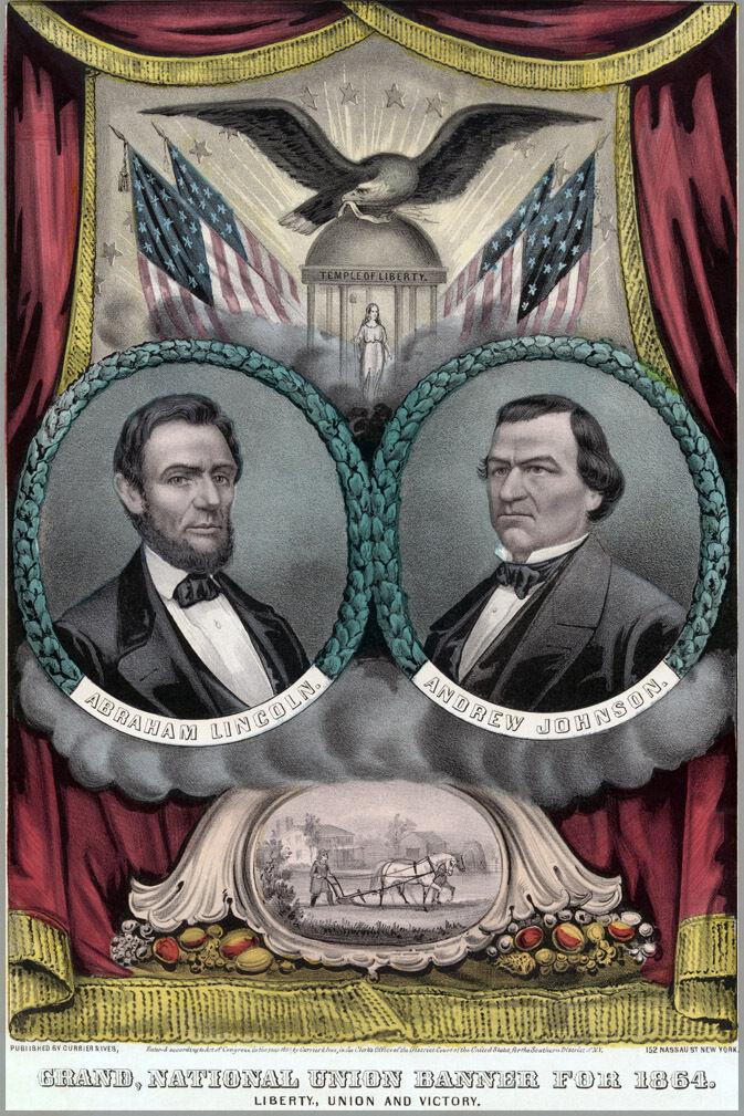 Poster, Molte Molte Molte Misure; Presidente Abraham Lincoln Reelection 1864 Andrew Jo a9b4a2