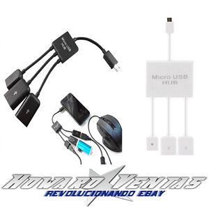 Cable-Micro-USB-Con-Puertos-USB-Hub-OTG-Adaptador-Android-Tablet-Samsung-Huawei