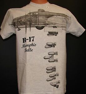 B-17-Memphis-Belle-WW2-Airplane-T-shirt-with-plane-dropping-bombs-HUGE-imprint
