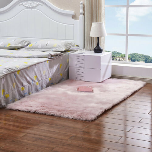Natural Faux Rabbit Fur Rug Fluffy Soft Wool Area Rugs Shaggy Carpet Bedroom Mat