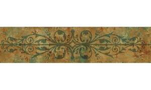 Wallpaper-Border-Tuscan-Faux-Marble-Iron-Gate-Trellis-Rust-and-Green