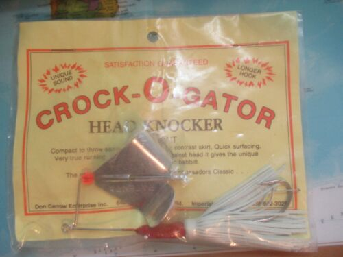 Vintage Don Carrow Enterprises Crock-O-Gator head knocker Buzz Bait Blanc//Rouge!!!