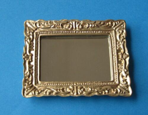Espejo con marco decorado cuadrada casa de muñecas decoración en miniatura 1:12