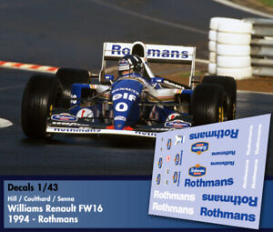 Decals-1-43-F1-Senna-Hill-Coutlhard-Williams-Renault-FW16-Rothmans